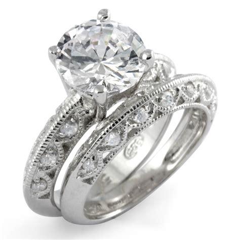 cubic zirconia bridal set wedding engagement ring