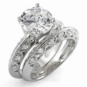 round cubic zirconia bridal set wedding engagement ring With wedding ring sets cubic zirconia