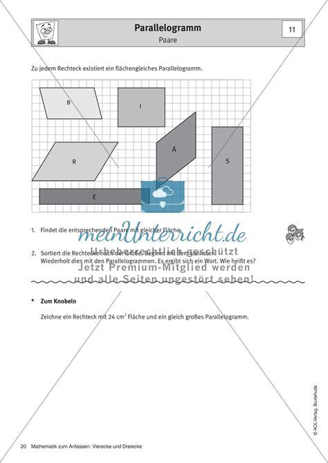 parallelogramm eigenschaften flaecheninhalt