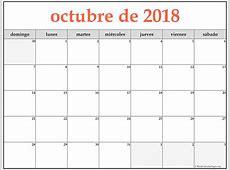 calendario de octubre 2018 para imprimir Baskanidaico