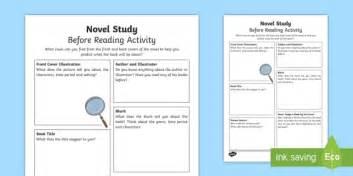 novel study before reading worksheet activity sheet cfe