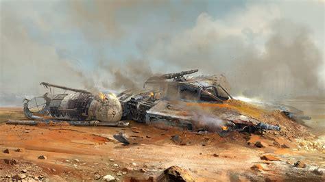 star wars crash artwork science fiction  wing wreck