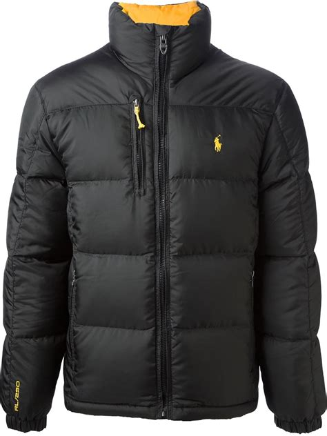 lyst polo ralph classic padded jacket in black for