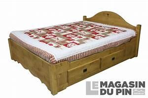 Lit En 160x200 : lit double 160x200 avec tiroirs en pin massif chamonix le ~ Teatrodelosmanantiales.com Idées de Décoration