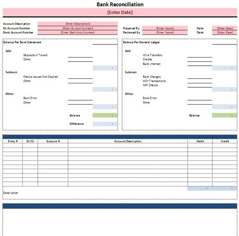 excel bank reconciliation template