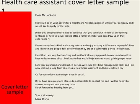 Health Care Assistant Resume Cover Letter by Health Care Assistant Cover Letter
