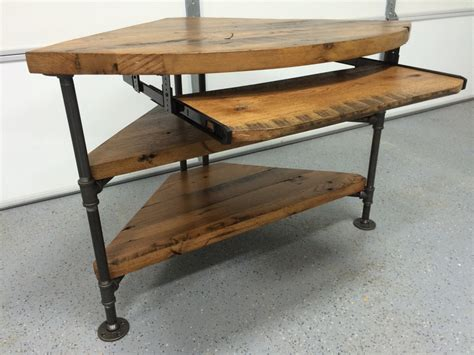 black iron pipe desk reclaimed wood corner table desk solid oak w black iron pipe