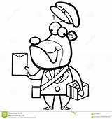 Postman Bear Cartoon Coloring Letter Package Pinchers Clipart Pack Illustration Template Pages sketch template