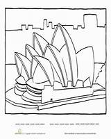 Opera Sydney Coloring Worksheet Education Worksheets Australia Colouring Pages Australian Asia Landmarks Social National Famous Printable Geography Studies Sheet Map sketch template
