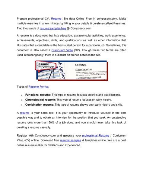 Free Resume Maker by Resume Sles Free Resume Maker Cv Sles