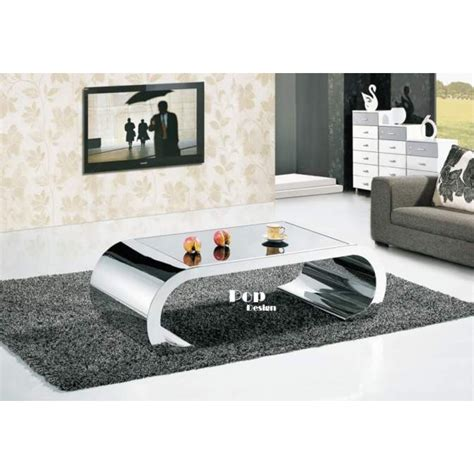 canapé angle 8 places table basse inox effet miroir pop design fr