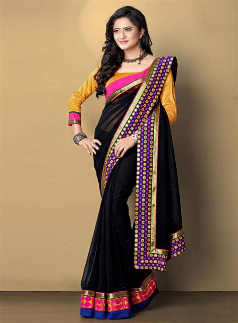 black saree blouse georgette saree with blouse newhairstylesformen2014 com