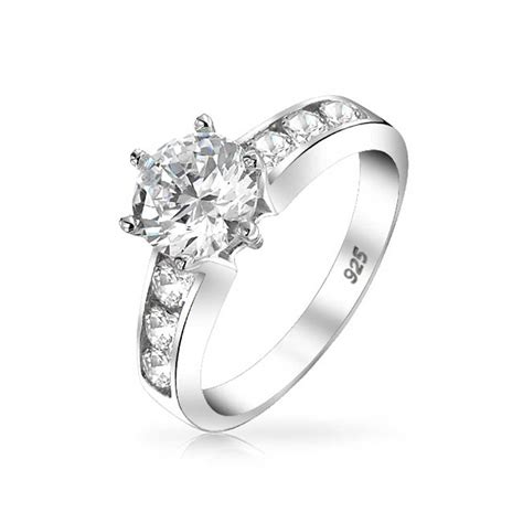 sterling silver channel set 6 prong 1 25ct cz engagement ring