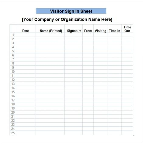 sample sign  sheet templates   ms word