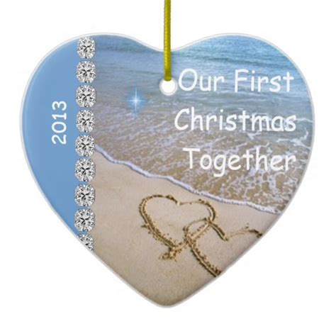 first christmas together beach 2013 custom ornamen double
