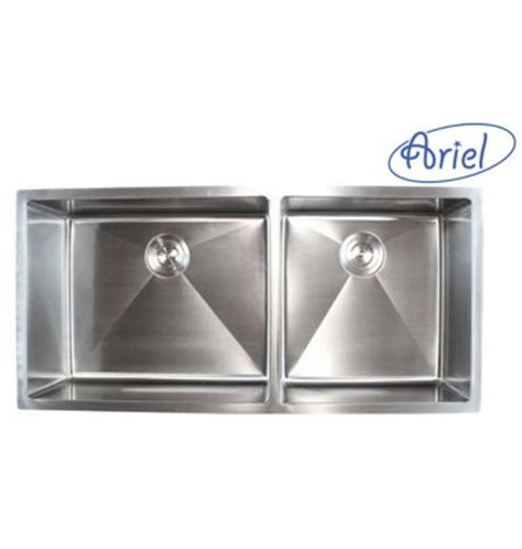 ariel 42 inch stainless steel undermount double bowl