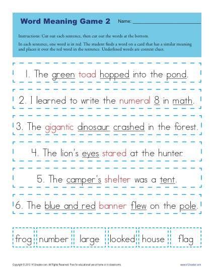 Context Clues Worksheets 1st Grade