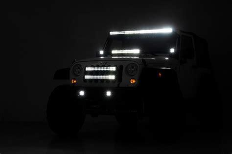 jeep light bar at night 20in led light bar grille kit for 2007 2018 jeep wrangler