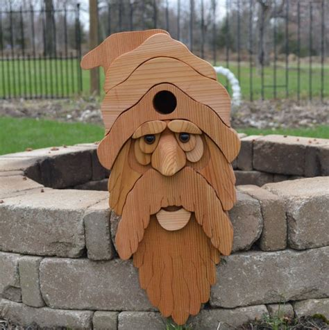 large bearded  man cedar birdhouse  flush mount