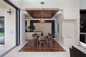 Light fixture with drop ceiling in the dining room