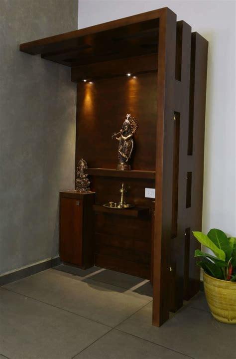 elegant prayer room  dark walnut brown unit  madhu