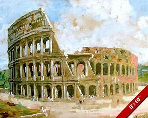 COLOSSEUM OF ANCIENT ROME ITALY WATERCOLOR PAINTING ROMAN ...