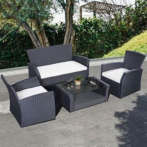 4PC Wicker Cushioned Outdoor Patio Furniture Set Garden ...