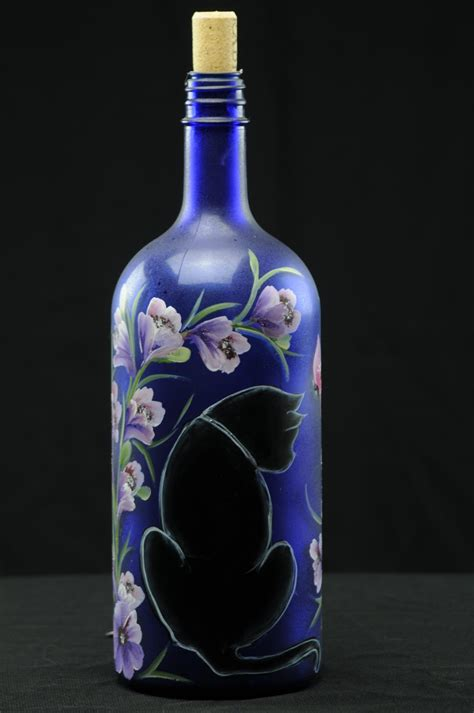 lighted wine bottles 1 5 ltr painted lighted wine bottle black cat with