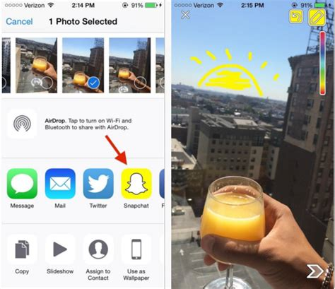 upload pictures  camera roll  snapchat