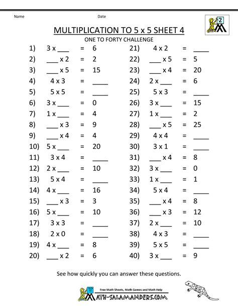 multiplication worksheets grade 5 multiplication to 5x5 worksheets for 2nd grade