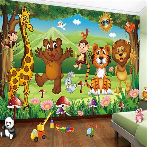 custom  photo mural wallpaper  kids room animal