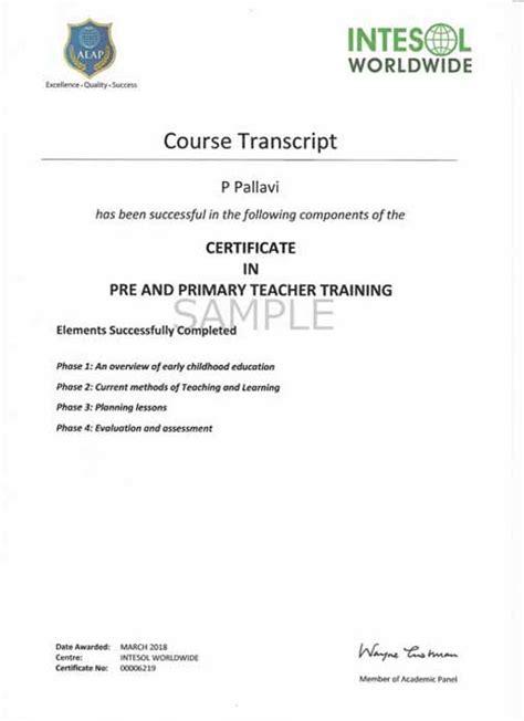primary teachers training certificate  pre primary