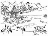 Coloring River Mountain Scene Nature Peacocks Conservation Inspire Awareness sketch template