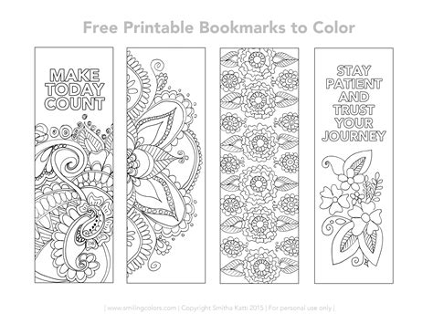 free printable bookmarks coloring calendar 2016 and free printable bookmarks to color smiling colors
