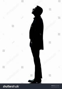 One Caucasian Business Man Silhouette Standing Stock Foto ...