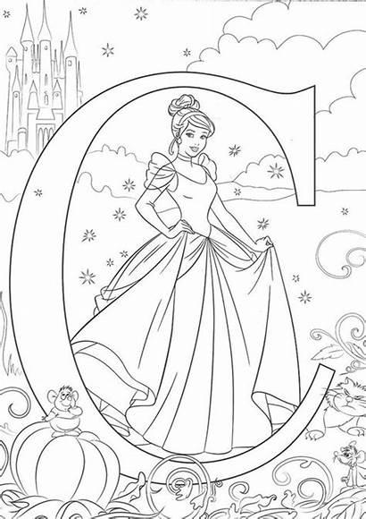 Coloring Disney Alphabet Cinderella Printable Letters Sheets