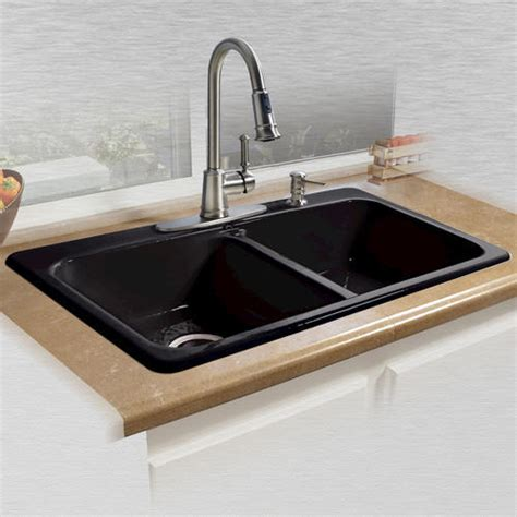 drop in kitchen sinks at menards ceco daytona black 33 quot x 22 quot x 7 5 quot cast iron equal