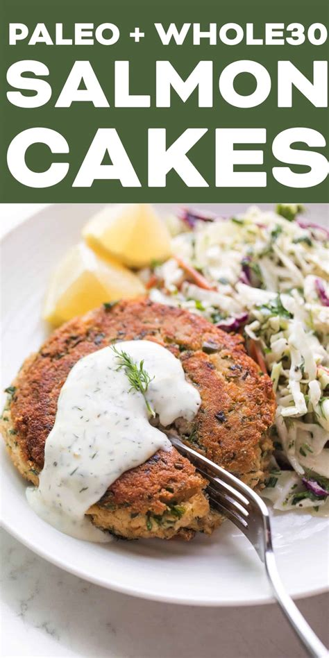 To celebrate the first day of the spring, i wanted to share a super healthy and flavorful paleo salmon i pair these cakes with homemade light caesar dressing that's also no egg, no mayonnaise, and no anchovies that everyone's been asking for. Whole30 + Keto Salmon Cakes with Lemon Dill Aioli - Tastes Lovely