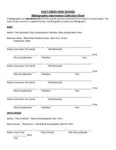 Reference Sheet Template Bibliography Template