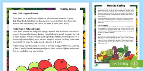 Healthy Eating Reading Comprehension Assessment Activity  Test, English