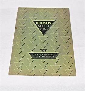 1933 Hudson Super Six Glove Box Owners Book Operators