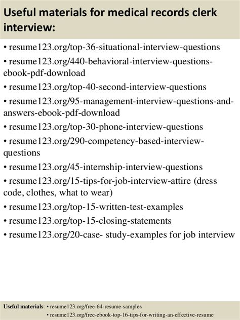 Records Clerk Questions And Answers by Top 8 Records Clerk Resume Sles
