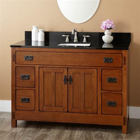 Mission Style Bathroom Vanity - signature hardware 48 quot halstead rustic oak vanity cabinet