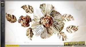 Deco Murale Metal Fleur : grande d coration murale en m tal fleur cuivr e et dor e 94 cm ~ Teatrodelosmanantiales.com Idées de Décoration