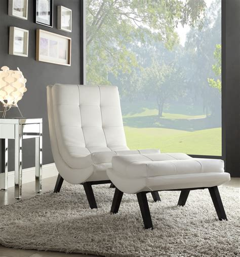 tustin lounge chair and ottoman set with white fuax
