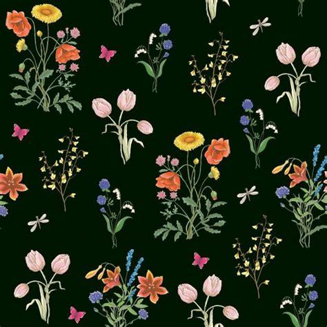 tulip dandelion cornflower delicate flower pattern