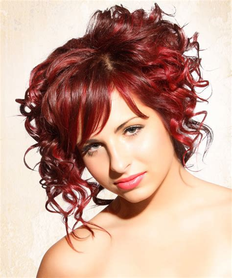 medium curly casual updo hairstyle  side swept bangs