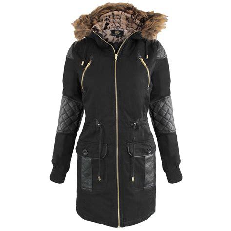 black parka coat new womens black pu trim fur lined parka