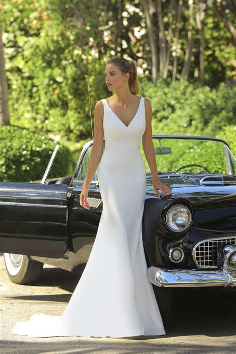 neck crepe wedding dress   crepe wedding dress