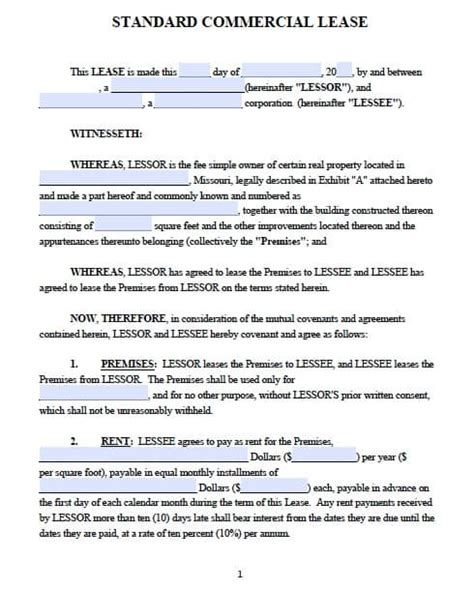 Commercial Building Lease Agreement Template by Free Missouri Commercial Lease Agreement Pdf Template